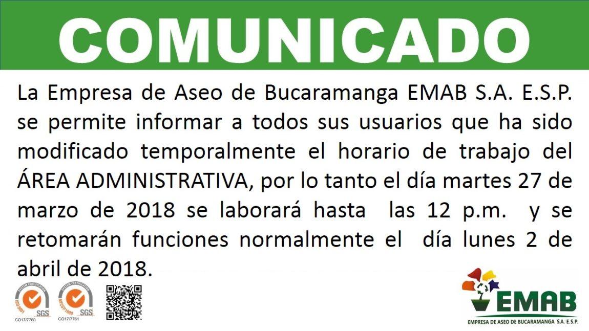 La EMAB S.A. E.S.P. modifica temporalmente horario laboral del Área Administrativa