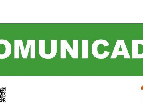 Comunicado oficial suspensión de términos para actuaciones administrativas