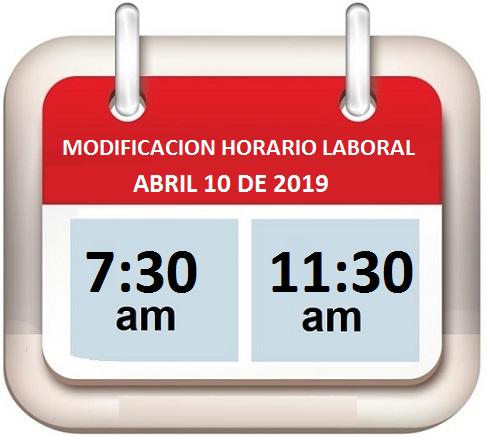 Horario Laboral 10 de abril de 2019